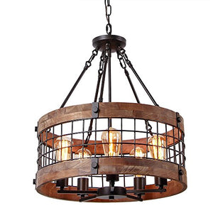 Round Wooden Chandelier Ceiling Lights, Brown - EK CHIC HOME