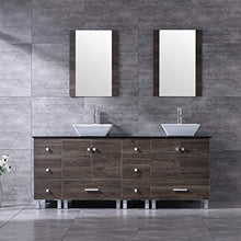 "Load image into Gallery viewer, 72"" Double Wood Bathroom Vanity Cabinet and Square Ceramic Vessel Sink w/Mirror Faucet Combo - EK CHIC HOME"