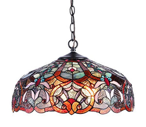 Tiffany-Style Victorian 2-Light Ceiling Pendant Fixture, 18-Inch, Multi-colored - EK CHIC HOME