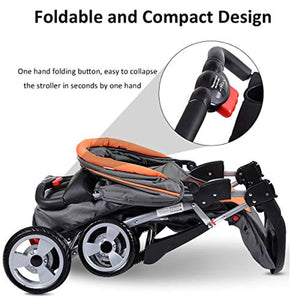 Baby Stroller, Foldable Infant Pushchair with 5-Point Safety Harness, Multi-Position Reclining Seat - EK CHIC HOME