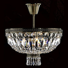"Load image into Gallery viewer, Metropolitan 4 Light Flush Mount Ceiling Light, Antique Bronze Finish Crystal 16"" D x 14"" H - EK CHIC HOME"