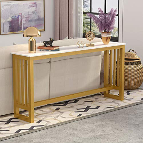 70.9 Inch Extra Long Gold Sofa Table, Modern Console Table - EK CHIC HOME