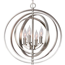 "Load image into Gallery viewer, 18"" 4-Light Modern Sphere/Orb Chandelier, Brushed Nickel Finish - EK CHIC HOME"