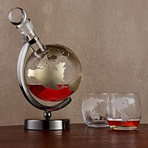 Gold Etched Globe Whiskey Decanter with Gunmetal Finish Stand - EK CHIC HOME