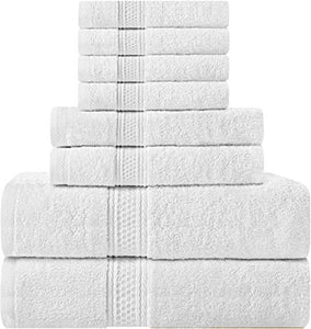 Premium 8 Piece Towel Set (White); 2 Bath Towels, 2 Hand Towels and 4 Washcloths - Cotton - Machine Washable, Hotel Quality - EK CHIC HOME