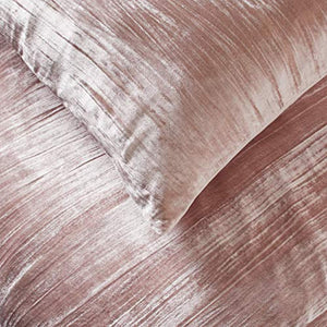 Modern Velvet Duvet Cover and Sham Set - King, Blush - EK CHIC HOME