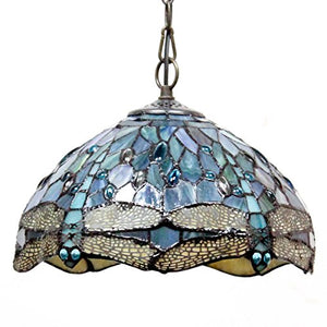 Tiffany Hanging Lamp Crystal Bead Dragonfly 12 Inch Sea Blue Stained Glass - EK CHIC HOME
