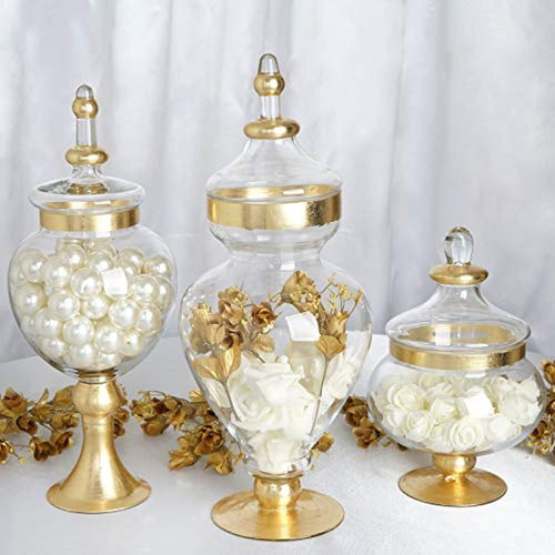 Set of 3 Metallic Gold Rimmed Apothecary Glass Candy Jars - EK CHIC HOME
