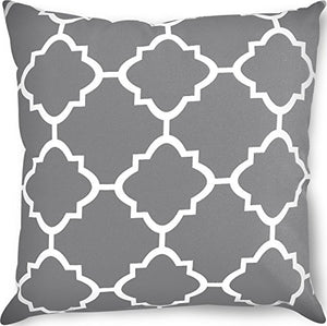 Decorative Square 18 x 18 Inch Throw Pillow - Grey Moroccan Quatrefoil - EK CHIC HOME