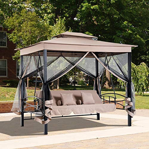 Garden Porch Swing Chair with Mesh Wall Daybed Canopy Gazebo Steel Frame 3 Person - EK CHIC HOME