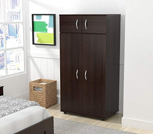 4-Door Armoire Wardrobe Brown - EK CHIC HOME