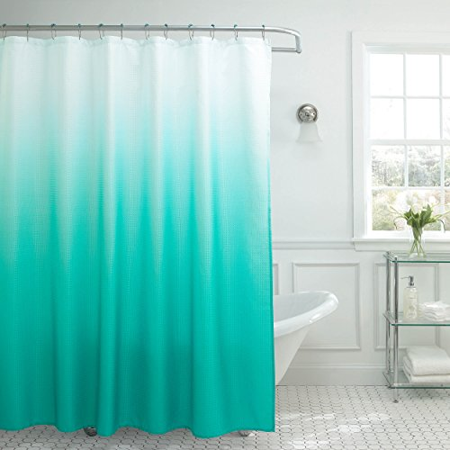 Ombre Textured Shower Curtain with Beaded Rings, Turquoise - EK CHIC HOME