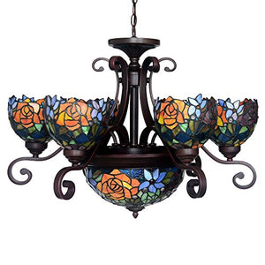 Rose Tiffany Style Stained Glass Ceiling Pendant Fixture with 9-Light Chandeliers - EK CHIC HOME