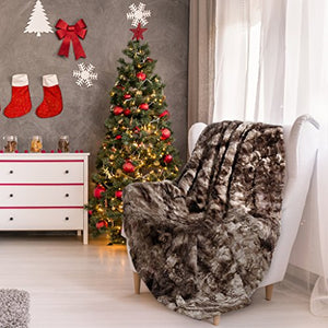 Luxury Super Soft Faux Fur Fleece Throw Blanket Cozy Warm Breathable Lightweight (60x80) - EK CHIC HOME