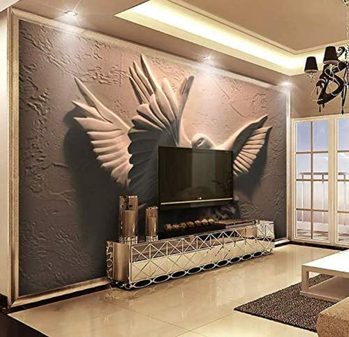 3D Embossed Sculpture Wallpaper Cement Pigeon Wall Mural Minimalist Home Decor - EK CHIC HOME