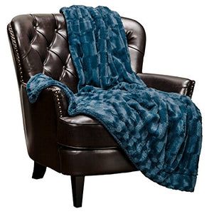"Fur Elegant Rectangular Embossed Throw Blanket (50"" x 65"") - EK CHIC HOME"