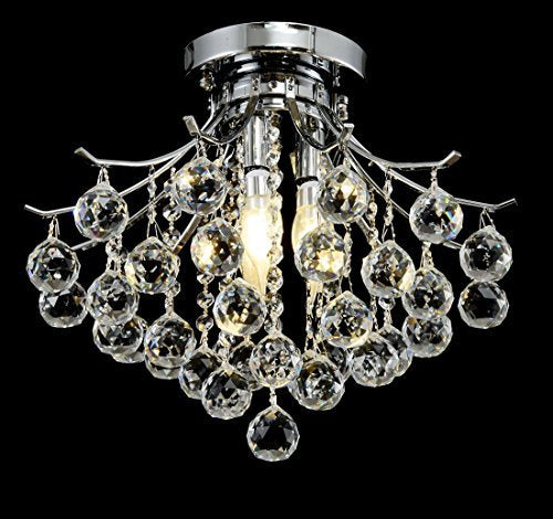 Modern Style 4-Light Chrome Finish Crystal Chandelier W16
