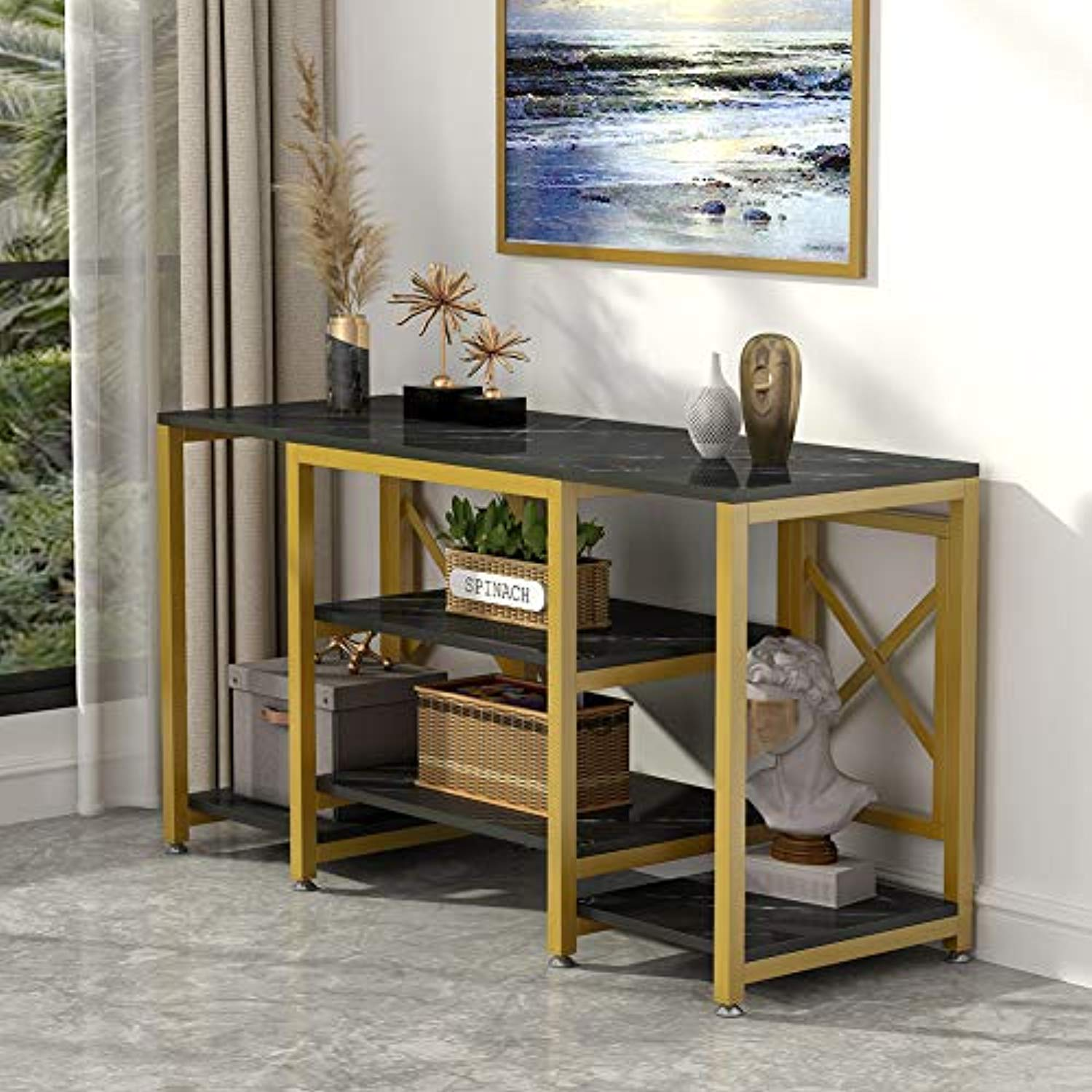 Gold TV Stand, Modern Entertainment Center Media Stand, 5