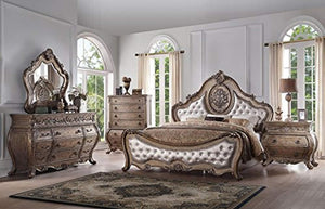 Rovigo Luxury Vintage Oak PU Tufted Sleigh Bedroom Set 5Pcs - EK CHIC HOME