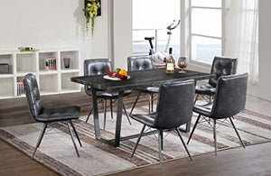 Marble Collection - 7 Piece Dining - Table and 6 Leather Chairs - Dinette Table Chairs Antique Washed Oak - EK CHIC HOME