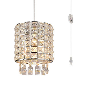 Plug in Modern Crystal Chandelier Swag Pendant Light with Clear 16.4' Cord - EK CHIC HOME