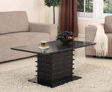 Load image into Gallery viewer, Black Wood Finish Wave Design Occasional Table Set Coffee Table & 2 End Tables - EK CHIC HOME