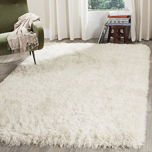 Venice Shag Collection Handmade Pearl Polyester Area Rug - EK CHIC HOME