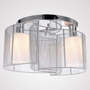 2 Light Semi Flush Mount Ceiling Light Fixture with Fabric Shade and Cloth Cover - EK CHIC HOME