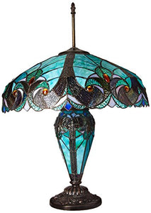 Liaison Tiffany Victorian 3 Light Double Lit Table Lamp - EK CHIC HOME