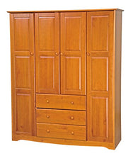 "Load image into Gallery viewer, Solid Wood Family Wardrobe/Armoire/Closet 60"" W x 72"" H x 21"" D. 3 Clothing Rods Included - EK CHIC HOME"