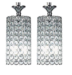 1-Light Chrome Finish Round Metal Shade Crystal Chandelier [ Pair of 2 ] - EK CHIC HOME