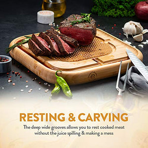 "Premium Bamboo Carving Board with Deep Juice Groove (13.5"" X 13.5"") - EK CHIC HOME"