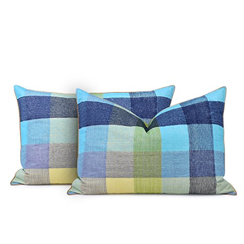 Pack of 2, Plaid Goose Feather and Down Pillow 100% Egyptian Cotton - EK CHIC HOME
