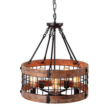 Load image into Gallery viewer, Round Wooden Chandelier Ceiling Lights, Brown - EK CHIC HOME