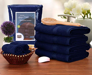 Premium Bath Towels (Pack of 4, 27 x 54) 100% Ring-Spun Cotton Towel Set - EK CHIC HOME