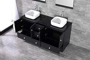 "60"" Black Double Bathroom Vanity Cabinets and Ceramic Vessel Sink w/Mirror Combo Faucet - EK CHIC HOME"