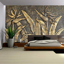 Load image into Gallery viewer, Murwall 3D Embossed Wallpaper Gold Sculpture Wall Mural Paradise - EK CHIC HOME