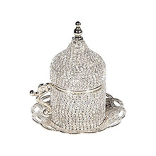 Load image into Gallery viewer, 27 Pc Turkish Greek Arabic Coffee Espresso Cup Saucer Swarovski Crystal Set - EK CHIC HOME