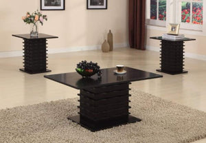 Black Wood Finish Wave Design Occasional Table Set Coffee Table & 2 End Tables - EK CHIC HOME