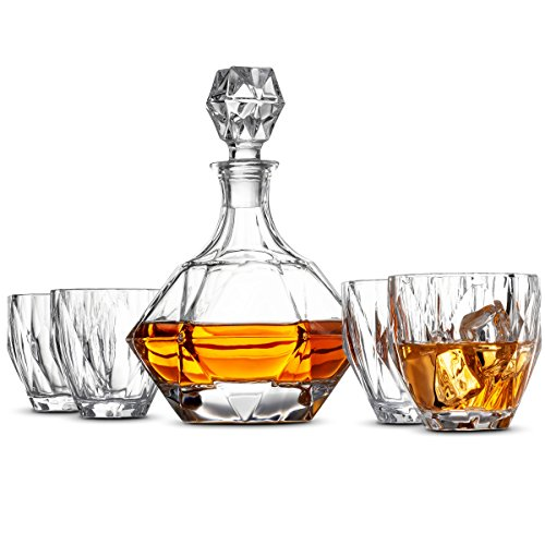 5-Piece European Style Whiskey Decanter and Glass Set - With Magnetic Gift Box - EK CHIC HOME