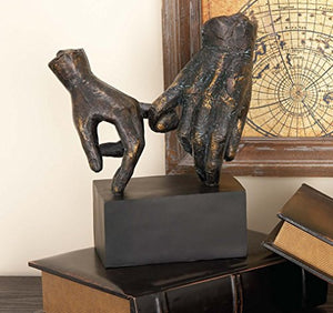 Deco Hands Statue on Block Base - EK CHIC HOME