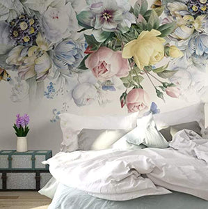 Floral Wallpaper Colorful Floral Wall Mural Peony Flower Watercolor Paint Art Classic - EK CHIC HOME