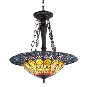 "22"" Shade Camila Tiffany-Style 3 Inverted Ceiling Pendant - EK CHIC HOME"