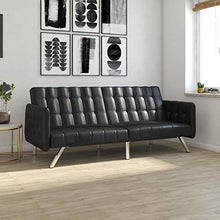 Load image into Gallery viewer, Modern Style with Tufted Cushion, Arm Rests and Chrome Legs, - Black Faux Leather - EK CHIC HOME