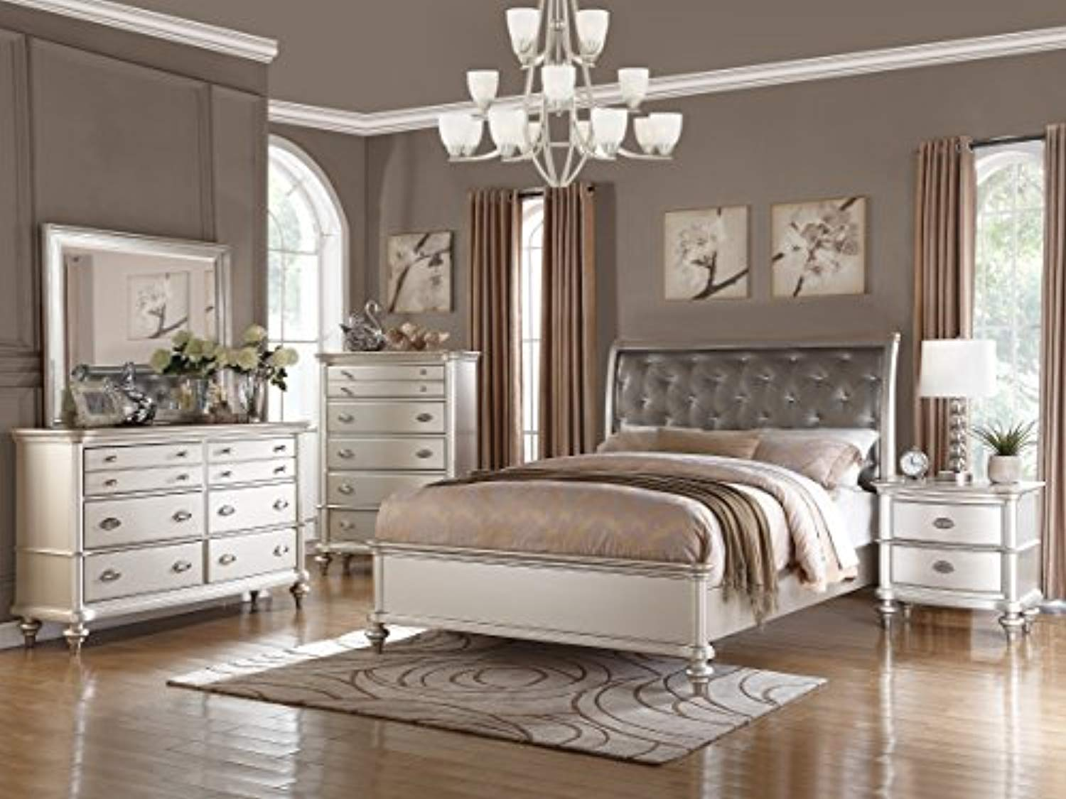 Silver Magical Bedroom Furniture Accent Tufted Hb Eastern King Size Bed Royal Dresser Mirror Nightstand 4pc Set
