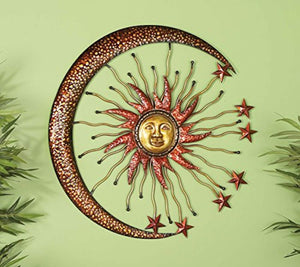 "Eclectic Celestial-Themed Metal Wall Decor 36""Diameter Copper and Gold Finishes - EK CHIC HOME"
