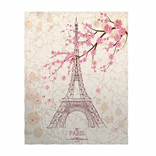 58 x 80 Inch Eiffel Tower Print Super Soft Throw Blanket - EK CHIC HOME