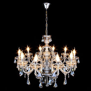 10 Lights Modern Luxurious Crystal Chandelier Candle Pendant Lamp 25.6 x 35.4 Inch - EK CHIC HOME