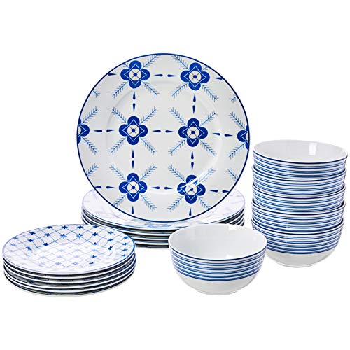 18-Piece Dinnerware Set - Cottage, Service for 6 - EK CHIC HOME
