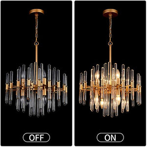 Crystal Chandelier,8 Light Round Pendant Light,Width 19 inch,Brass Metal + Clear Glass